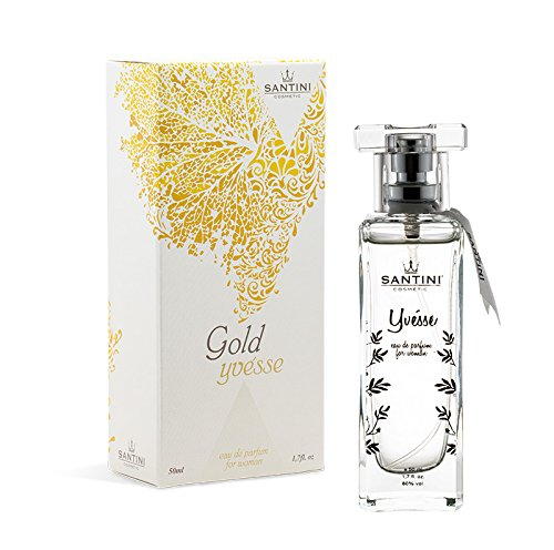 Gold Yvésse Eau de Parfum Von Santini Cosmetics – Zitrus- & Blumenduft mit Jasmin und Patchouli für Frauen - 50ml