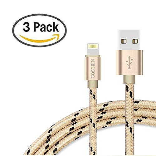 Lightning Kabel - GOSCIEN 3Pack 1M Nylon iPhone Ladekabel Lightning USB Datenkabel für Apple iPhone X, 8/8 Plus, 7/7 Plus, 6s/6s Plus, 6/6 Plus, 5/5s/5c, iPad 4/iPad Mini/iPad Air