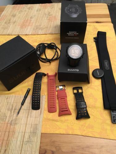 Suunto Ambit3 Peak Black HR Sportuhr Herzfrequenz GPS Smart Watch Neuer Brustg