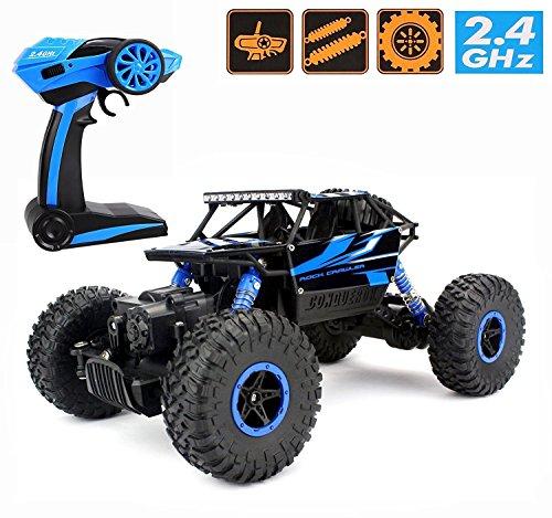 Ferngesteuertes Autos,CrossRace RC Auto Rock Crawler,1:18 Monstertruck,4WD Elektrisches Offroad Fahrzeug(Blau)