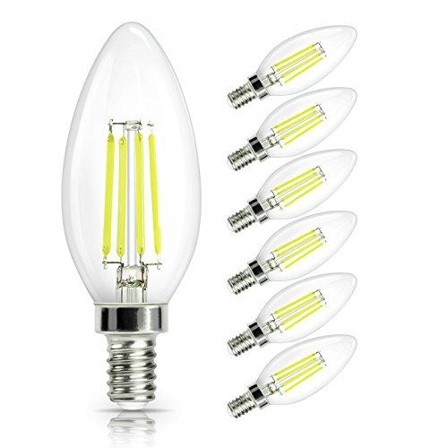 6er Pack E14 Kerze LED Lampe, SHINE HAI E14 Glühfaden Retrofit Classic, LED Birne als Kolbenlampe, 4W ersetzt 40 Watt Kerze, 470 Lumen 6000K Kaltweiß, E14 Filament Fadenlampe, 230V AC 360° Abstrahlwinkel mit Glas-Gehäuse, nicht dimmbar, 2 Jahre Garantie