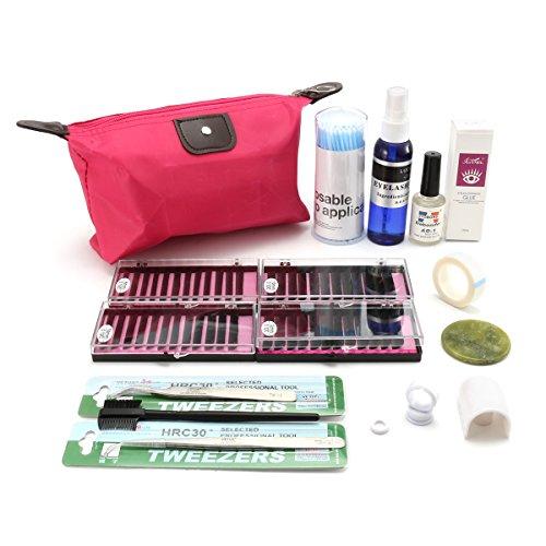 Wimpernverlängerung Set, Luckyfine Professionelle Semi Permanent Wimpernverlängerung Set, Wimpern Verpflanzen Set mit Makeup Tasche
