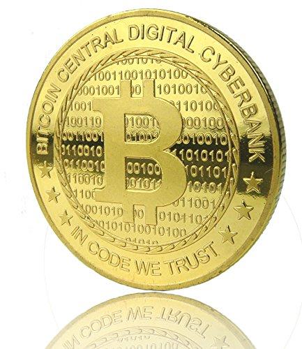 BITCOIN Münze echt vergoldet Medaille Sammelmünze Bit-coin BTC Design nur bei uns erhältlich EXCLUSIV Schneller Prime Versand