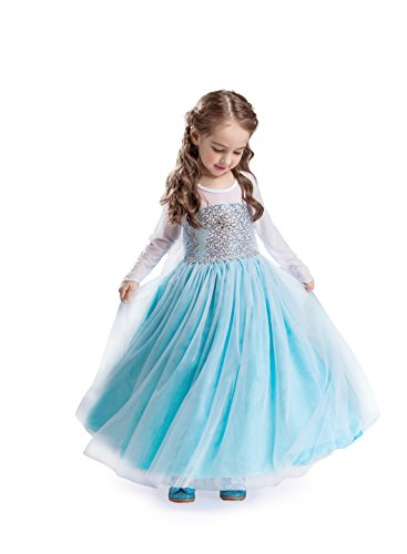 ELSA & ANNA® Mädchen Prinzessin Kleid Verrücktes Kleid Partei Kostüm Outfit DE-FR200 (3-4 Jahre, FR200)