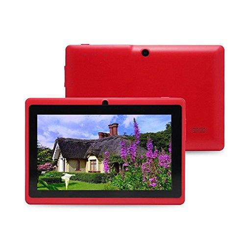 Cewaal Q88H 7 Zoll Tablet PC, Wifi Quad Core Android 4.4, 1GB RAM + 16GB Speicher 32GB Erweiterung, Doppelkamera 0.3MP, Bluetooth HD 1024 x 600 Display, Allwinner A33, Rot