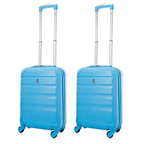 Aerolite Leichtgewicht ABS Hartschale 4 Rollen Handgepäck Trolley Koffer Bordgepäck Kabinentrolley Reisekoffer Gepäck , Genehmigt für Ryanair , easyJet , Lufthansa und Vieles Mehr , 2 Teilig , Blau