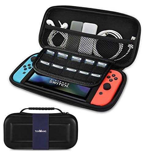 Nintendo Switch Tasche - TUXWANG EVA Shell tragbare Tragetasche mit faltbaren Klappen Elastische Streifen und größeren Speicherplatz für 10 Spiele und anderes Nintendo Switch Zubehör