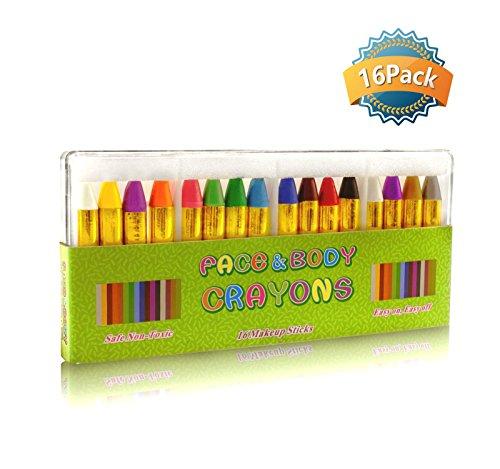 GiBot Schminkstifte 16 Farben Schminkpalette Schmink Bodypaint Körpermalfarben Tattoo für Kinder, Easy on und off, 16 Farben