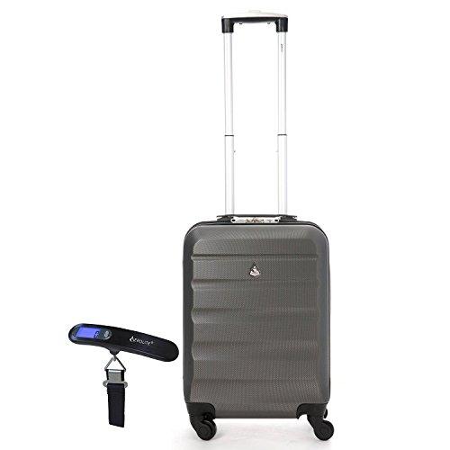 Aerolite Leichtgewicht ABS Hartschale 4 Rollen Handgepäck Trolley Koffer Bordgepäck Kabinentrolley Reisekoffer Gepäck , Genehmigt für Ryanair , easyJet (55cm Handgepäck + Rahmen)
