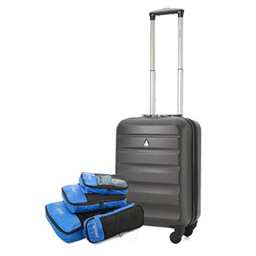 Aerolite Leichtgewicht ABS Hartschale 4 Rollen Handgepäck Trolley Koffer Bordgepäck Kabinentrolley Reisekoffer Gepäck , Genehmigt für Ryanair , easyJet (55cm Handgepäck + Verpackung Würfel)