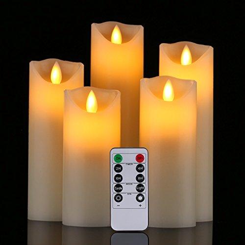 LED Kerzen, flammenlose Kerzen 12/15/17/20/22CM Set aus 5 Echtwachs Säulen nicht Plastik mit realistischen tanzenden LED Flammen und 10-Tasten Fernbedienung mit 2/4/6/8-Stunden Timer Funktion,300+ Stunden-YIWER (5x1, Elfenbein)