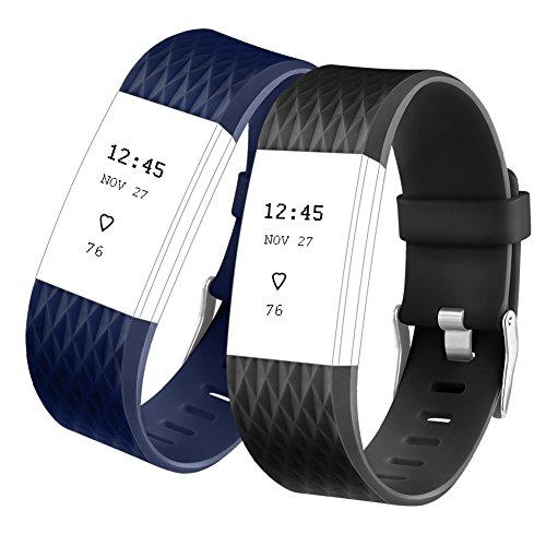 Fitbit Charge 2 Armband, Vancle Armband Ersatz Uhrenarmband für Fitbit Charge 2 Armbänder (Kleine, Schwarz+Blau)