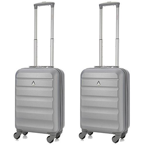 Aerolite Leichtgewicht ABS Hartschale 4 Rollen Handgepäck Trolley Koffer Bordgepäck Kabinentrolley Reisekoffer Gepäck , Genehmigt für Ryanair , easyJet , Lufthansa und Vieles Mehr , 2 Teilig , Silber