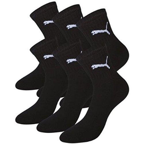 PUMA Unisex Short Crew Socks Socken Sportsocken MIT FROTTEESOHLE 6er Pack (Black, 35-38)