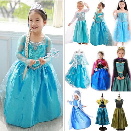 Mädchen Kinder Prinzessin Kleid Elsa Eiskönigin Karneval Halloween Xmas Kostüm