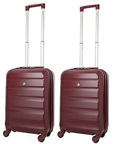 Aerolite Leichtgewicht ABS Hartschale 4 Rollen Handgepäck Trolley Koffer Bordgepäck Kabinentrolley Reisekoffer Gepäck , Genehmigt für Ryanair , easyJet , Lufthansa und Vieles Mehr , 2 Teilig , Wein