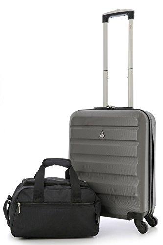 Aerolite Leichtgewicht ABS Hartschale 4 Rollen Handgepäck Trolley Koffer Bordgepäck Kabinentrolley Reisekoffer Gepäck , Genehmigt für Ryanair , easyJet (55cm Handgepäck + Kabine)