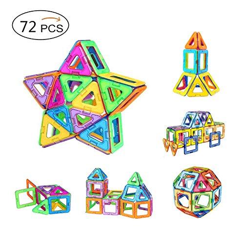Magnetische Bausteine?AMZtronics Bauklötze Bausteine Konstruktionsbausteine Lernspielzeug 72 Stücke Perfekten Spielzeug mit Spaß und Geschenk für den Einsatz zu Hause, in Schulen, Picknick, Kindertagesstätten