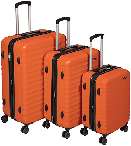 AmazonBasics Hartschalen-Trolley - 3-teiliges Set (55 cm, 68 cm, 78 cm), Orange