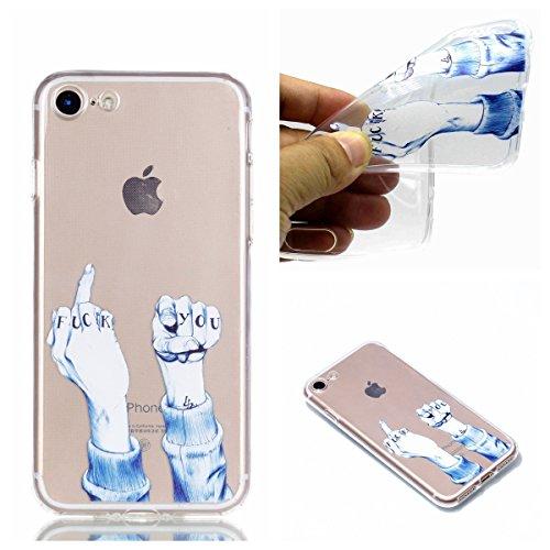 iPhone 8 Hülle, iPhone 7 Hülle, iPhone 8 / 7 Crystal Shell, iPhone 8 / iPhone 7 Silikon Hülle, BONROY TPU Silikon Schutz Handy Hülle Handytasche Schutzhülle für iPhone 8 / iPhone 7, FUCK YOU Finger Muster [Clear Crystal] Durchsichtige Rückschale Silikon T