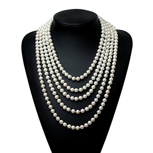 BABEYOND Modische Imitation Perlen Kette Flapper Art Deco 1920s Gatsby Kostüm Accessoires Lange Perle Halskette 300 cm / 118