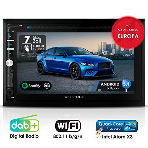 Autoradio Android CREATONE AMG-3030   2DIN Naviceiver   GPS Navigation (aktuelle Europa-Karten mit Radarwarnungen)   DAB+ DigitalRadio   DVD-Player   Touchscreen 7 Zoll (18cm)   USB bis 4TB l Quad-Core 64-Bit CPU Intel Atom x3 4x1,2GHz   16GB integriert  