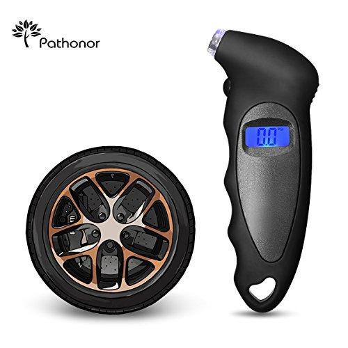 Reifendruck Luftdruckprüfer, PATHONOR Reifendruck digitaler Luftdruckprüfer für Motorräder, Autos, Geländewagen, Transporter, Sprinter, LKW, und Fahrräder (mit Autoventilen) Schwarz
