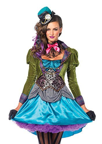 Leg Avenue 85505 - Deluxe Mad Hatter Kostüm, Größe Medium (EUR 38), Damen Karneval Kostüm Fasching