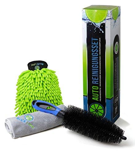 Premium Auto Reinigungsset (3-teilig) - Hochwertige Felgenbürste, Mikrofasertuch, Waschhandschuh - Die optimale Lösung für eine gründliche und komfortable Autopflege - inkl. Zufriedenheitsgarantie