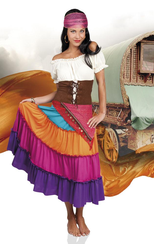 Zigeuner Kleid bunt Damen Gypsy Piratin Zigeunerin Kostüm Karneval Fasching
