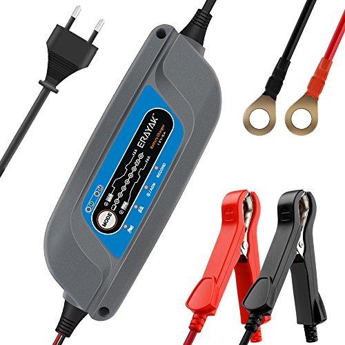 Batterieladegeräte ERAYAK Autobatterie-Ladegerät 12V 5A batterie ladegeraet TÜV Zertifiziert, 8-stufig für 10-120AH Batterien, Alle Arten von Rasenmäher, Motorräder, Automotive, Marine, Auto (Grau)