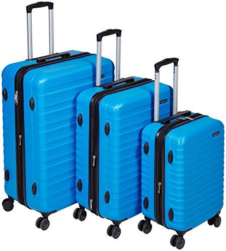 AmazonBasics Hartschalen-Trolley - 3-teiliges Set (55 cm, 68 cm, 78 cm), Hellblau