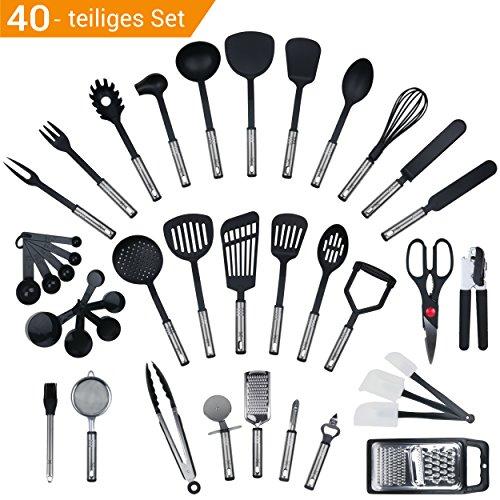 JETZT NEU - 40 teiliges-Set von Y&Y Küchenprofi, Küchenhelfer Set aus Edelstahl und Silikon Kochen Tools einschließlich Turners, Tongs, Löffel, Messbecher, Schneebesen , Dosenöffner, Schäler, Schaber