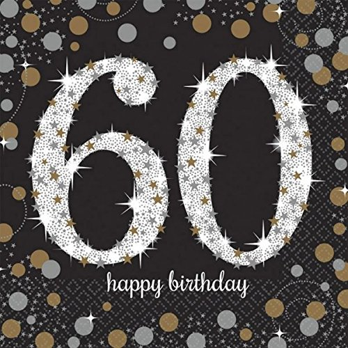 Amscan 511547 Servietten zur Feier des 60.Geburtstags, mit goldener Verzierung, 33cm