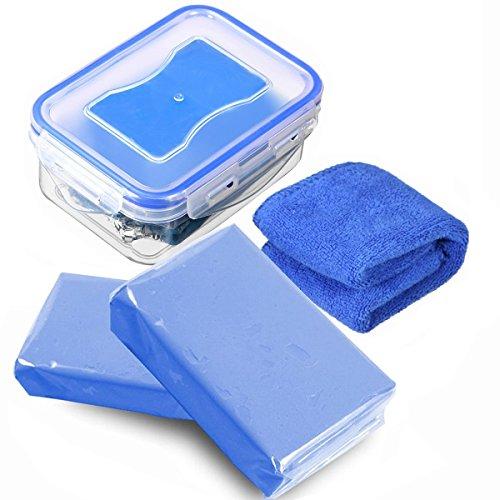 MATCC 2x180g Reinigungsknete Auto Lackreinigungsknete Reinigungsknete Zur Lackpflege Und Felgenreinigung Autoknete Für Auto Motorrad Wohnwagen Lackreinigung Lackpolitur Blau