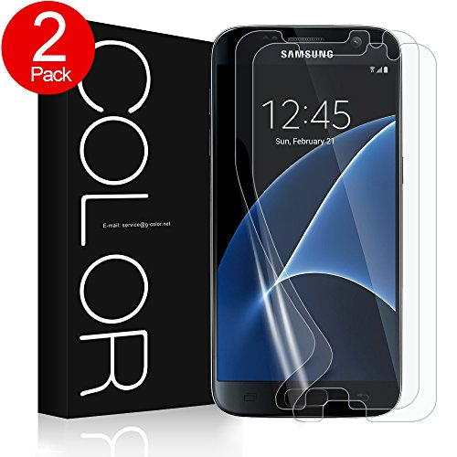Galaxy S7 Schutzfolie (Blasenfreie), G-Color (2Stück)Mit Netzmittel [Mit Hülle] [Ultra-klar][Ultra-dünner][Einfache Installation] (TPU Schutzfolie nicht panzerglas schutzfolie)(Nicht S7 Edge Schutzfol