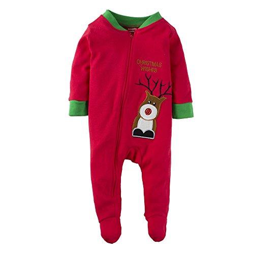 BIG ELEPHANT Baby Jungen oder Mädchen 1 Stück Weihnachten Elch gedruckt Reißverschluss bis Strampler Pyjama rot M12