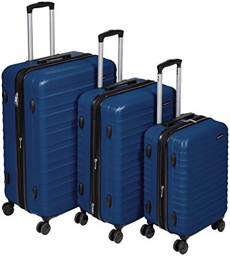AmazonBasics Hartschalen-Trolley - 3-teiliges Set (55 cm, 68 cm, 78 cm), Marineblau