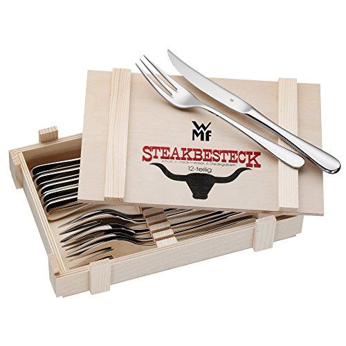 WMF Steakbesteck 12-teilig Steakgabel Steakmesser für 6 Personen in Holzkiste Cromargan Edelstahl rostfrei poliert