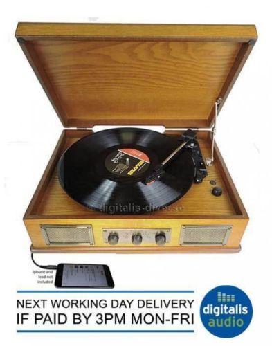 Steepletone Norwich Light Wood Retro 3 Speed Record Player,Radio,Usb Playback