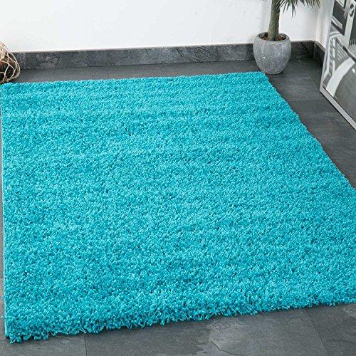 Prime Shaggy Teppich Farbe Türkis Hochflor Langflor Teppiche Modern für Wohnzimmer Schlafzimmer - VIMODA, Maße:40x60 cm