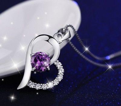 Silber Plattierte Halskette Herzkette Schmuck Geschenk Anhänger Design Damen