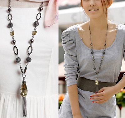 Women Lady Sparkly Crystal Drop Butterfly & Ball Long Necklace Fashion For Women
