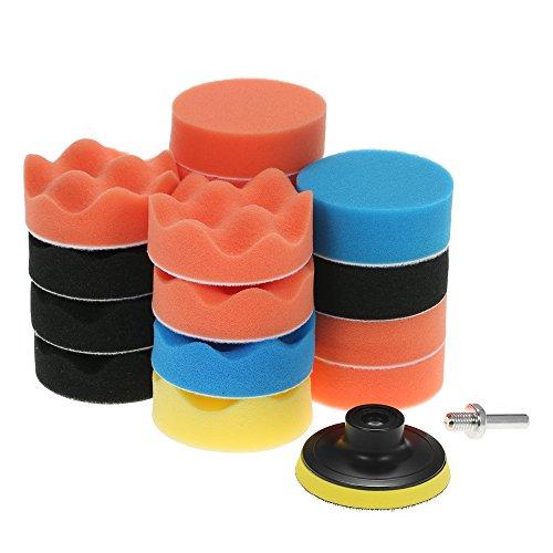 KKmoon 19PCS 3 Inch 80mm Auto Polierschwamm Wolle Polierpad Set Polierteller für Poliermaschine mit M10 Bohrer Adapter Polierhaube Gelb Schwarz Blau Orange