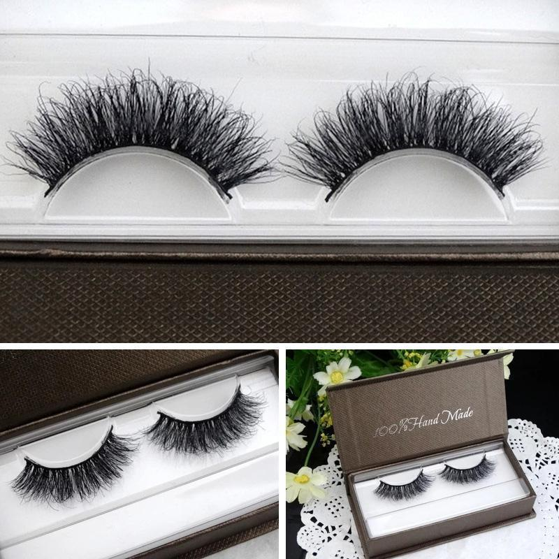 LASGOOS 100% Real Mink Fur 3D False Eyelashes Messy Natural Cross Lashes Makeup