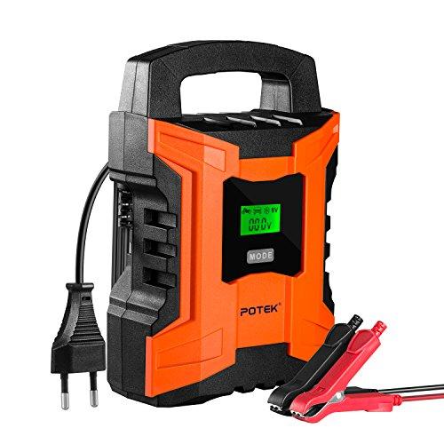 POTEK 2A/6A/10A 7-Schritt Smart Batterieladegerät Intelligente automatisches Pufferbatterie-Ladegerät Batterieladegerät 12V/6v Auto Elektrische Universal Blei Säure Batterie-Erhaltungsfunktion