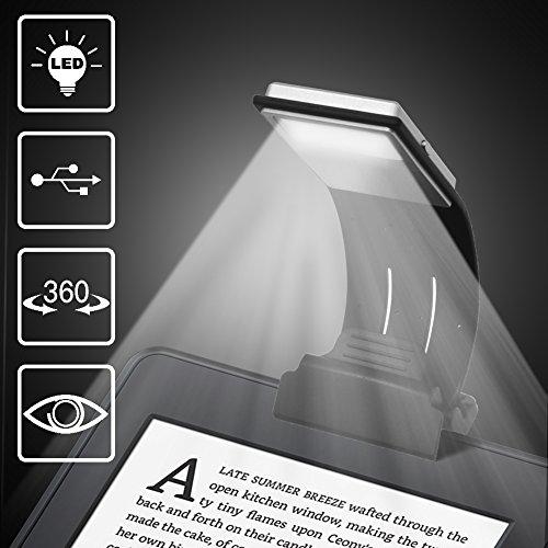 Leselampe, LENDOO Buchlampe, Leselicht, Wiederaufladbar LED Buchlampe mit Clip und 4-Stufe Helligkeit Tragbare und Flexibel, Arbeitsplatzleuchten für Amazon Kindle / eBook Reader / Book / ipad etc.