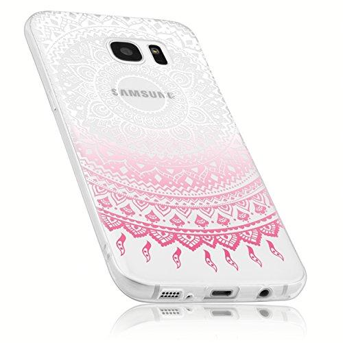 mumbi Schutzhülle Samsung Galaxy S7 Edge Hülle im Mandala Design transparent rosa