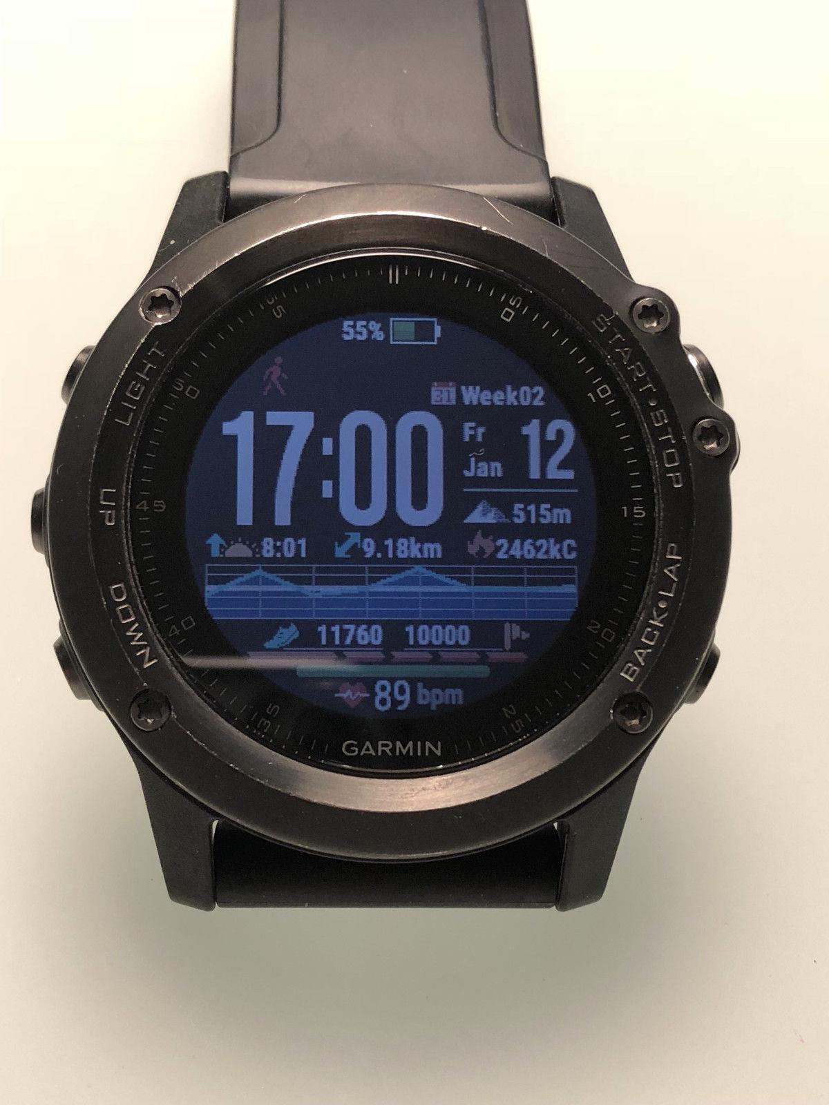 Garmin Fenix 3 Saphir HR Smartwatch schwarz/grau