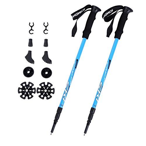 Songmics Wanderstöcke Trekkingstöcke Walkingstöcke 65 - 135 cm ergonomisch mit Anti-Shock Dämpfungssystem Blau SAS60Q